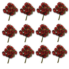 Craft Flowers -12mm Qty x 144 Mini Mulberry Paper Rose - Red Burgundy