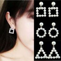 Women Pearl Geometric Hanging Dangle Ear Drop Earrings Fashion Jewelry Gifts New