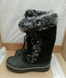 Khombu Thermolite Lace Up Waterproof Black Leather Faux Fur Lined Boots - UK 4