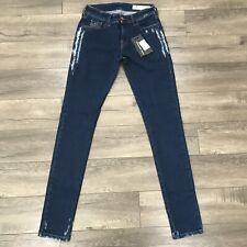 New DIESEL Slandy Super Slim-Skinny Regular Waist Jeans Womens W28XL34 Dark Blue