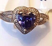 Beautiful 925 Sterling silver heart Tanzanite ring