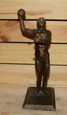 Vintage hand made metal statuette handball player