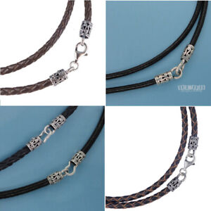 Antiqued Sterling Silver Round Genuine Leather Cord Necklace, Hook/Lobster Clasp