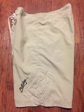 Men's Embroidered Beige Billabong Classic Style Surf Board Shorts Swim Trunks