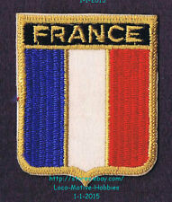 LMH PATCH Woven Badge  FRANCE Tricolor FRENCH FLAG  Blue White Red National gold