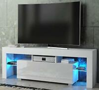 Matt And White Modern High Gloss TV Unit Cabinet Multi Color LED Lights Stand
