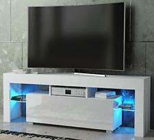Matt And White Modern High Gloss TV Unit Cabinet Multi Color LED Lights Stand