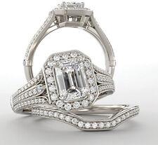 1 ct Emerald Cut Diamond Halo Engagement Wedding Ring VS2 clarity 14k White Gold
