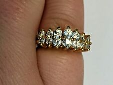 Vermeil Sterling Silver Double Row Channel CZ Cluster Ring