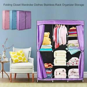 Modern Triple Canvas Fold Close Wardrobe Cupboard Hanging Clothe Storage
