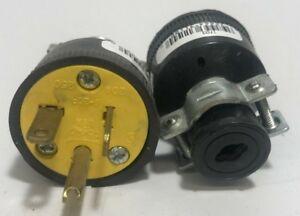 Eagle 1703-BOX Black Vinyl Plug, 20A, 250V, 3 Wire Grounding - Lot of 2!