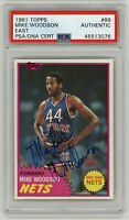 1981 NETS Mike Woodson signed ROOKIE card Topps #89 PSA/DNA AUTO RC New Jersey