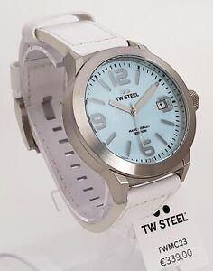 TW STEEL Marc Cobeln Herrenuhr Uhr blau Ø 45 mm Lederband weiß NEU OHNE BOX! 26