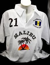 Malibu Rum, Polo Shirt  Weiss Men Gr.M, gestickte Logos, 100% Cotton