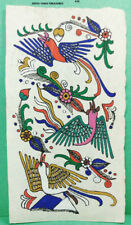 VINTAGE AMATE BARK PAPER PAINTING 6 x 3.50 INCHES COLOR on WHITE FROM MEXICO #20