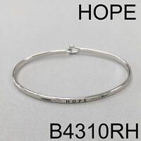 Silver Finish HOPE  & Arrow Phrase Message Engraved Brass Simple Bangle Bracelet