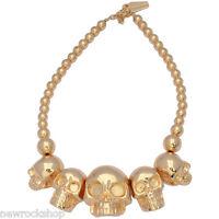New Kreepsville 666 Skull Collection Necklace Gold
