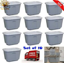 10 Plastic Tote Box 10 Gallon Stackable Storage Bin Container with Lid Set