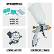 HVLP Spray Gun 1.5mm Tip, HVLP Air Regulator, Mini Denibbing Blocks - Package