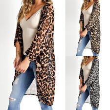 Autumn Women Oversize Long Top Retro Leopard Print Kimono Holiday Cover Up Shirt