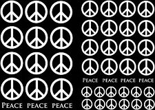 """White Peace Sign 5""""X7"""" Card Fused Glass Ceramic Decals 13CC129"""