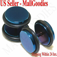 """2102 Fake Cheater Illusion Faux Plugs 16G Surgical Steel 1/2"""" 12mm Blue Largest"""