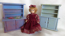 HANDMADE WOOD PAINTED doll house CABINETS  artist made vintage