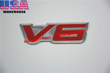 1X FENDER HOOD CAR PICK UP V6 EMBLEM V6 6 CYLINDER ENGINE ALUMINUM EMBLEM BADGE
