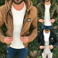 Men's Winter Warm Teddy Bear Hooded Coat Zip Up Fur Fleece Thick Jacket Hoodie