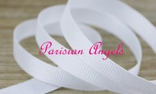 "3/8"" (9mm) White Grosgrain Ribbon  - By the Meter-  #4633 -Solid / Plain Colour"