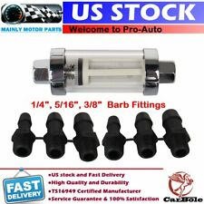 """UNIVERSAL 1/4 5/16"""" 3/8"""" GLASS INLINE FUEL FILTER IN/OUT MARINE BOAT 15PSI 400HP"""