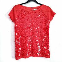 Ann Taylor LOFT Coral Sequin Front Tee Size Small