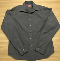 Untuckit Mens Sz Small Slim Fit Long Sleeve Button Front Shirt Solid Navy Blue