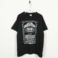 Vintage USA Print Old Time American Patriot Big Logo T Shirt Tee Black   Large L