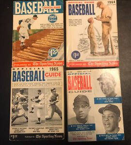THE SPORTING NEWS BASEBALL OFFICIAL GUIDES 1963, 1964, 1965 & 1966