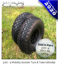 2x Heavy Duty 3.00-4 (260x85) Mobility Scooter Complete Tyre Set & Inner Tube