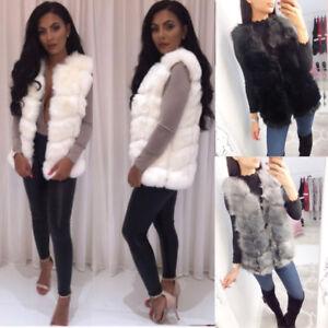Ladies Panelled Faux Fur Super Soft Waistcoat Gilet Body Warmer Jacket SIZE 8-14