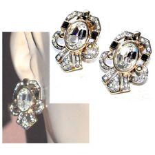 Boucles d'oreilles clips de couleur or cristal blanc et noir bijou earring
