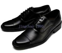 Men Business Lace up British Leather Oxford Pointed Toe Dress Shoes Solid Formal