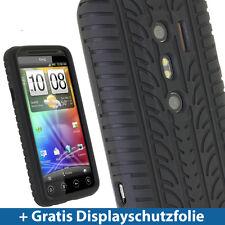 Silikon Schutz Tasche Schwarz Reifenprofil design für EVO 3D Hülle Case Skin