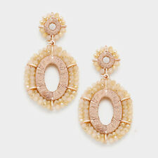 PARKER SPARROW ROSE GOLD BEAD WEAVE OVAL DANGLE POST BACK EARRINGS