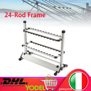 24 Capacità Rack di stoccaggio espositore porta canne da pesca/fishing Rod Frame