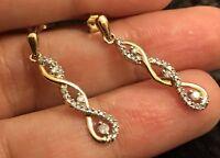 Ernest Jones 9ct Yellow Gold Diamond Earrings 0.25ct Dangle Drop