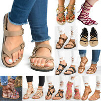 Women Summer Sandals Gladiator Low Flat Heel Strappy Beach Flip Flops Shoes Size