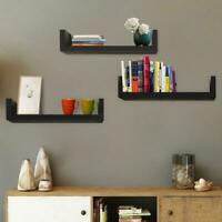 Floating Display Shelves Set Of 3 Home Office Wall Mount Storage Organizer Black