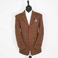 Amazing Mario Barutti Harris Tweed Vintage Blazer Burnt Orange Widowpane 48R