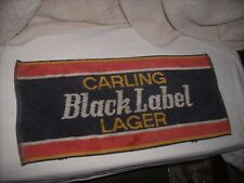 "Vintage Bar Hand Towel Carling Black Label Lager Collectible Towel~17-1/2"" X 8"""