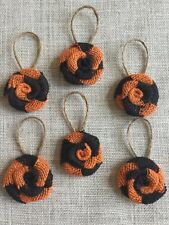 Set of Six Halloween Burlap Flowers Prange Black Swirl Hanging Ornaments