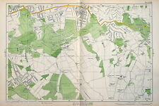 LONDON , 1938 - Original Vintage Map of WEST WICKHAM & ADDINGTON - Bacon