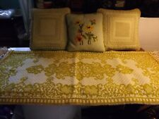 Lot 3 MCM Vintage Needlepoint Throw Pillows and 1 Rug - Avocado Green Gold